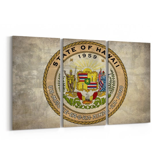 Hawaii State Seal Wall Art Canvas Hawaii State Seal Canvas Print Multiple Sizes Wrapped Canvas on Wooden Frame