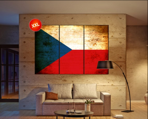 Czech Republic flag canvas art print large  canvas print Czech Republic country flag Wall Home office decor interior Office Decor