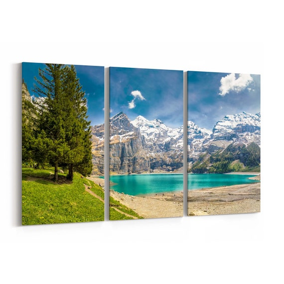 Swiss Alps Canvas Print Swiss Alps Wall Art Canvas Multiple Sizes Wrapped Canvas on Wooden Frame