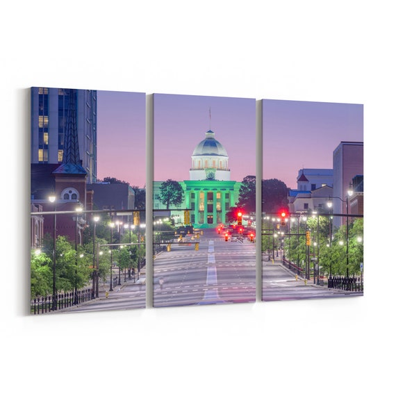 Montgomery Canvas Print Montgomery Wall Art Canvas Alabama Multiple Sizes Wrapped Canvas on Wooden Frame