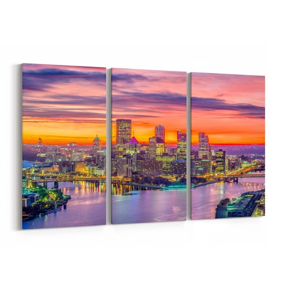 Pittsburgh Canvas Art Pittsburgh Wall Art Canvas Pennsylvania Multiple Sizes Wrapped Canvas on Wooden Frame