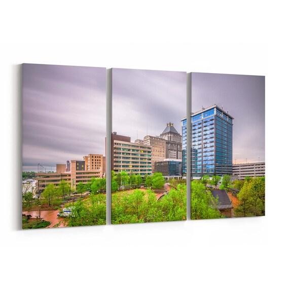 Greensboro Skyline Wall Art Greensboro Canvas Print North Carolina Multiple Sizes Wrapped Canvas on Wooden Frame
