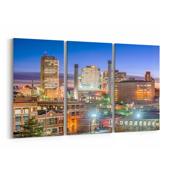 Harrisburg Skyline Wall Art Canvas Harrisburg Canvas Print Pennsylvania Multiple Sizes Wrapped Canvas on Wooden Frame
