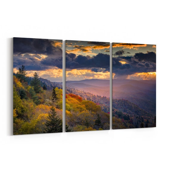 Great Smoky Mountains Canvas Print Great Smoky Mountains Wall Art Canvas Multiple Sizes Wrapped Canvas on Wooden Frame