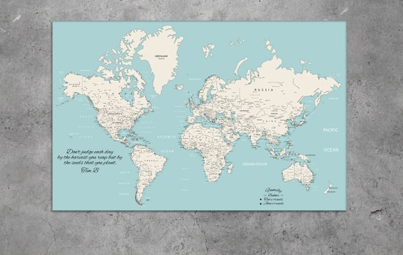 Teal world map, Teal push pin map, map for pinning, personalized Teal world map, Teal Push Pin Travel Map World