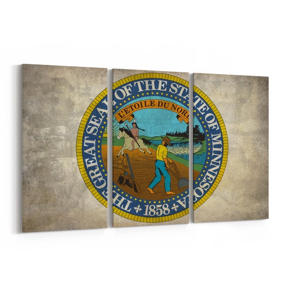 Minnesota State Seal Wall Art Canvas Minnesota State Seal Canvas Print Multiple Sizes Wrapped Canvas on Wooden Frame