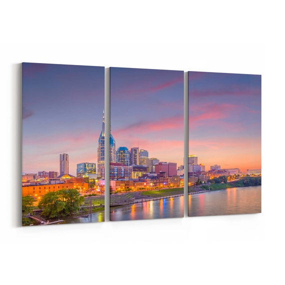Nashville Skyline Canvas Nashville Canvas Wall Art Tennessee Multiple Sizes Wrapped Canvas on Wooden Frame