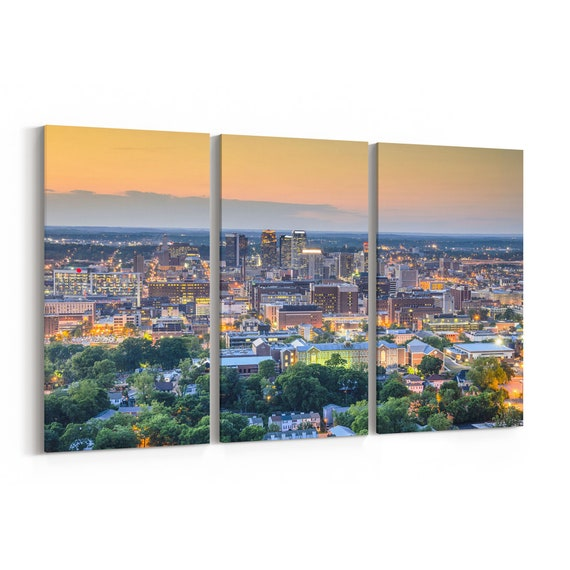 Birmingham Skyline Wall Art Birmingham Canvas Alabama Multiple Sizes Wrapped Canvas on Wooden Frame