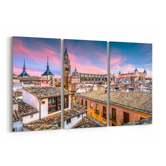 Toledo Skyline Wall Art Toledo Canvas Print Spain Multiple Sizes Wrapped Canvas on Wooden Frame