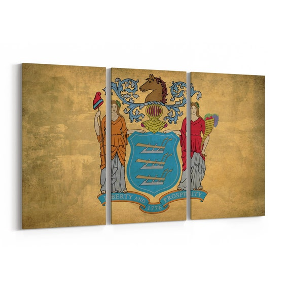 New Jersey State Flag Canvas Print New Jersey State Flag Wall Art Canvas Multiple Sizes Wrapped Canvas on Wooden Frame
