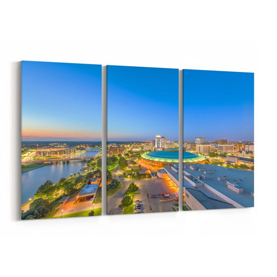 Wichita Canvas Print Wichita Wall Art Canvas Kansas Multiple Sizes Wrapped Canvas on Wooden Frame