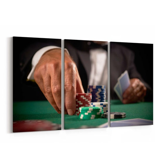 Casino Chips Canvas Print Casino Chips Wall Art Canvas Multiple Sizes Wrapped Canvas on Wooden Frame