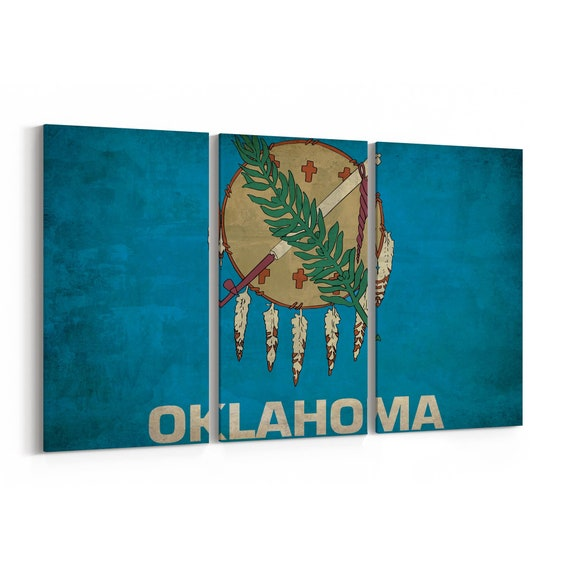 Oklahoma State Flag Canvas Print Oklahoma State Flag Wall Art Canvas Multiple Sizes Wrapped Canvas on Wooden Frame