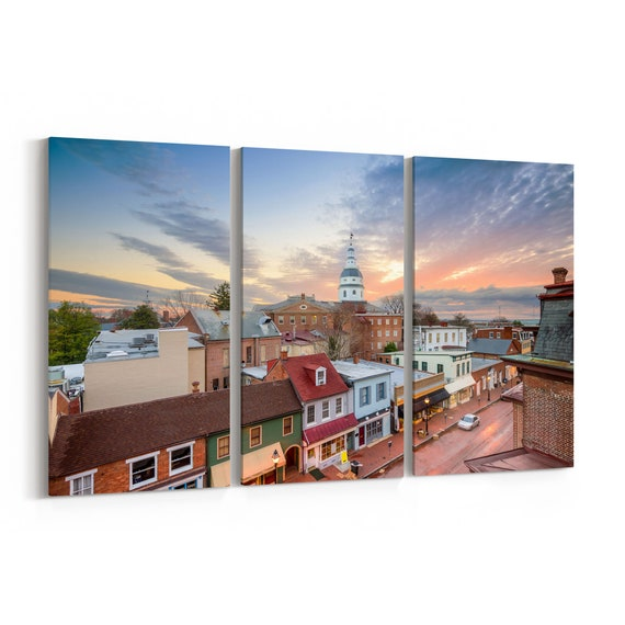 Annapolis Canvas Print Annapolis Wall Art Canvas Maryland Multiple Sizes Wrapped Canvas on Wooden Frame