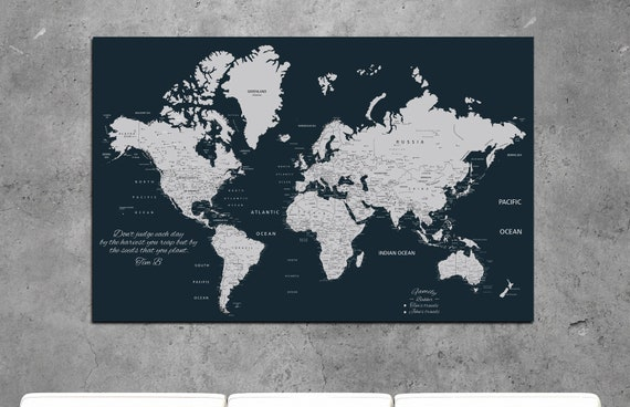 Navy world map, Navy push in map, map for pinning, personalized navy world map, navy Push Pin Travel Map World