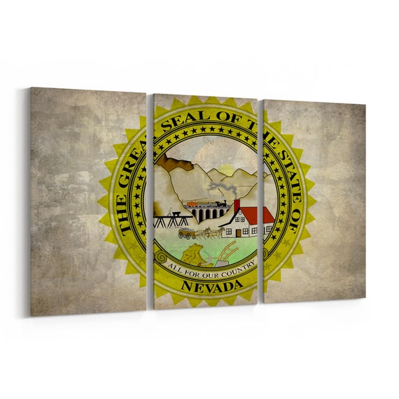 Nevada State Seal Wall Art Canvas Nevada State Seal Canvas Print Multiple Sizes Wrapped Canvas on Wooden Frame