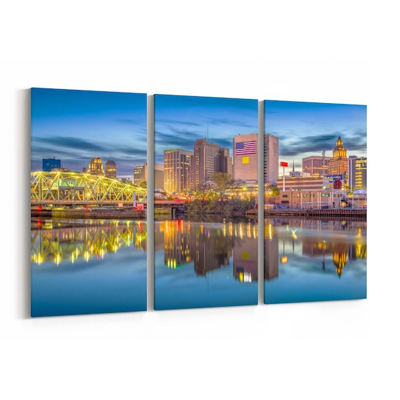 Newark Skyline Wall Art Newark Canvas Print New Jersey Multiple Sizes Wrapped Canvas on Wooden Frame
