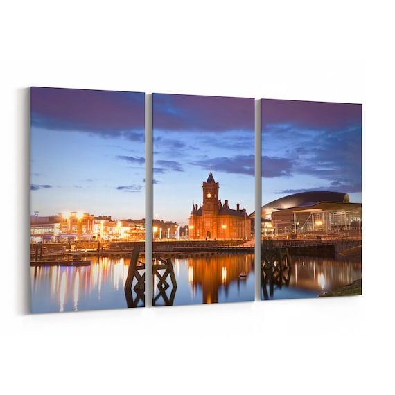 Cardiff Bay Skyline Wall Art Canvas Cardiff Bay Canvas Print Multiple Sizes Wrapped Canvas on Wooden Frame