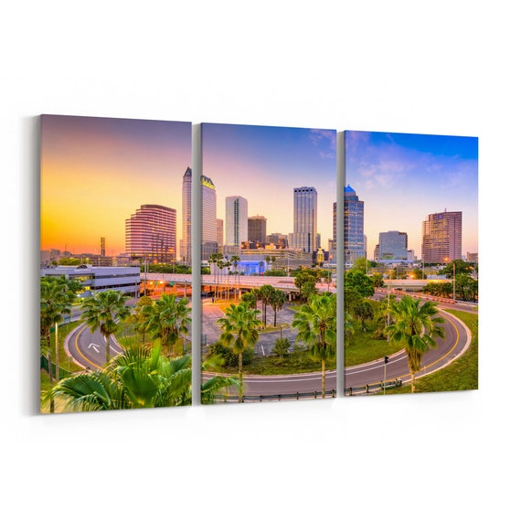 Tampa Skyline Canvas Tampa Canvas Wall Art Florida Multiple Sizes Wrapped Canvas on Wooden Frame
