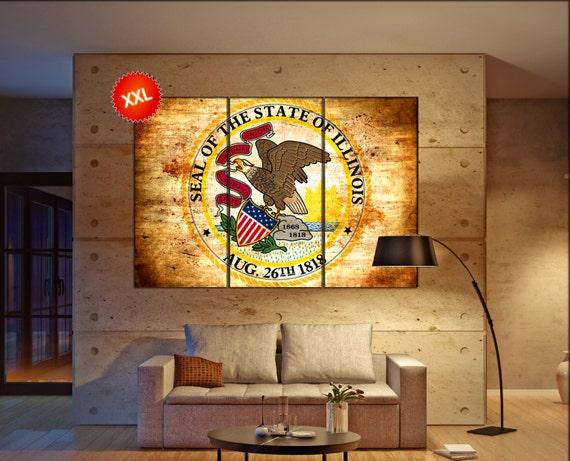 illinois seal flag  canvas illinois seal flag  wall decoration illinois seal flag  canvas art illinois seal flag large canvas