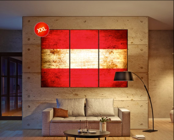 Austria flag canvas wall art art print large  canvas wall art print country flag Austria Wall Home office decor interior Office Decor