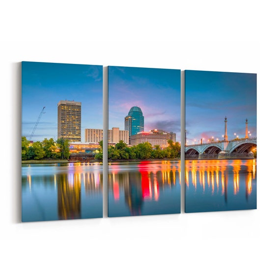 Springfield Skyline Wall Art Canvas Springfield Canvas Print Massachussetts Multiple Sizes Wrapped Canvas on Wooden Frame