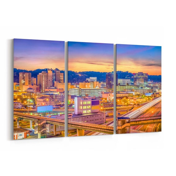Charleston Skyline Wall Art Canvas Charleston Canvas Print West Virginia Multiple Sizes Wrapped Canvas on Wooden Frame