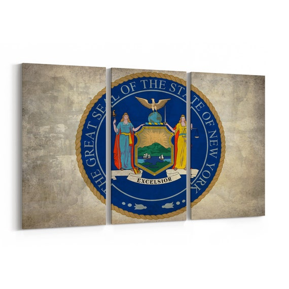 New York State Seal Wall Art Canvas New York State Seal Canvas Print Multiple Sizes Wrapped Canvas on Wooden Frame