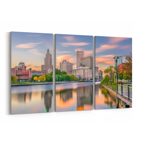 Providence Skyline Wall Art Providence Canvas Print Rhode Island Multiple Sizes Wrapped Canvas on Wooden Frame