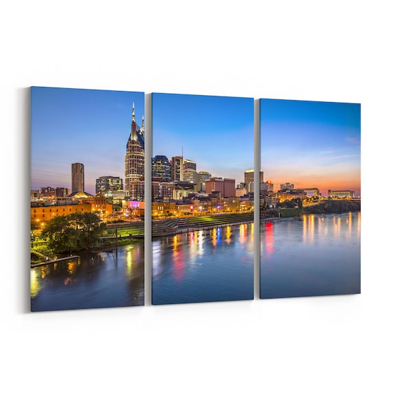 Nashville Skyline Wall Art Nashville Canvas Multiple Sizes Wrapped Canvas on Wooden Frame