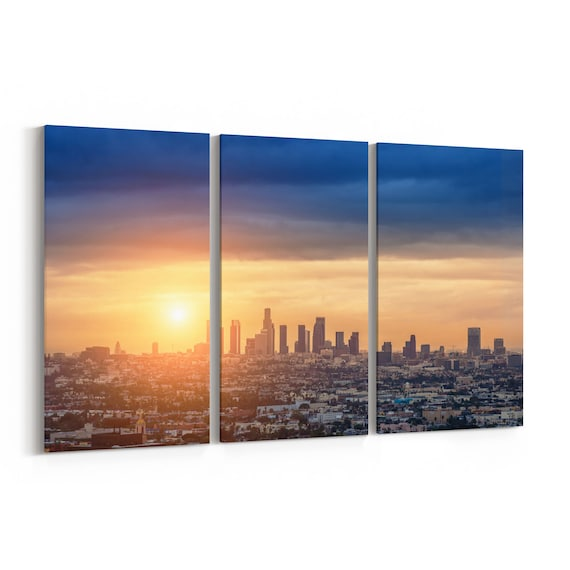 Los Angeles Skyline Canvas Los Angeles Canvas Print Multiple Sizes Wrapped Canvas on Wooden Frame