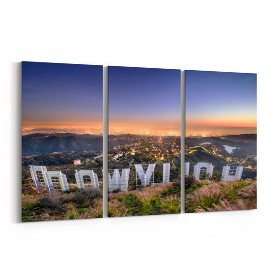 Hollywood Sign Skyline Wall Art Hollywood Sign Canvas Print Multiple Sizes Wrapped Canvas on Wooden Frame