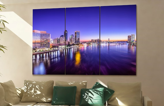 Jacksonville  canvas skyline Jacksonville wall decoration Jacksonville canvas art Jacksonville  wall decor canvas art
