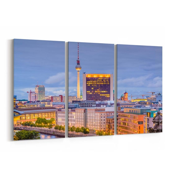 Berlin Skyline Wall Art Canvas Berlin Canvas Print Germany Multiple Sizes Wrapped Canvas on Wooden Frame