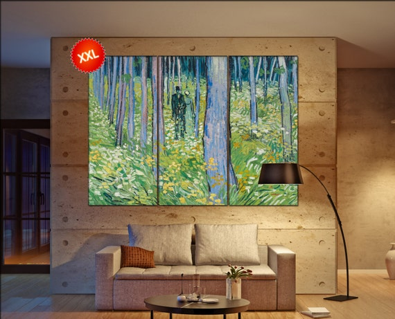 van gogh undergrowth with two figures  print canvas wall art Large undergrowth with two figures art artwork large art office decoration