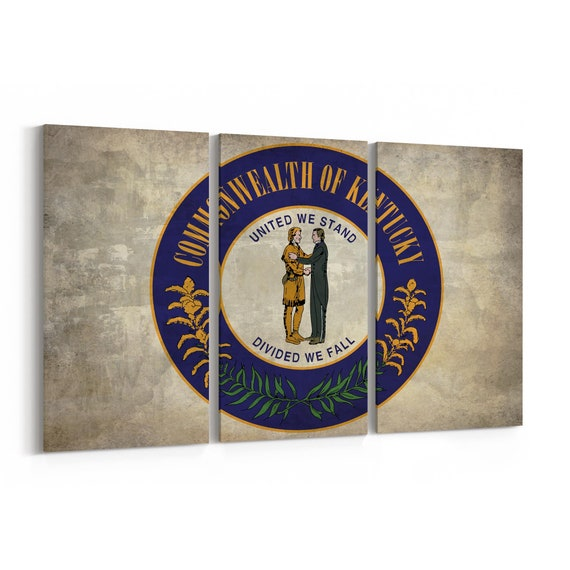 Kentucky State Seal Wall Art Canvas Kentucky State Seal Canvas Print Multiple Sizes Wrapped Canvas on Wooden Frame