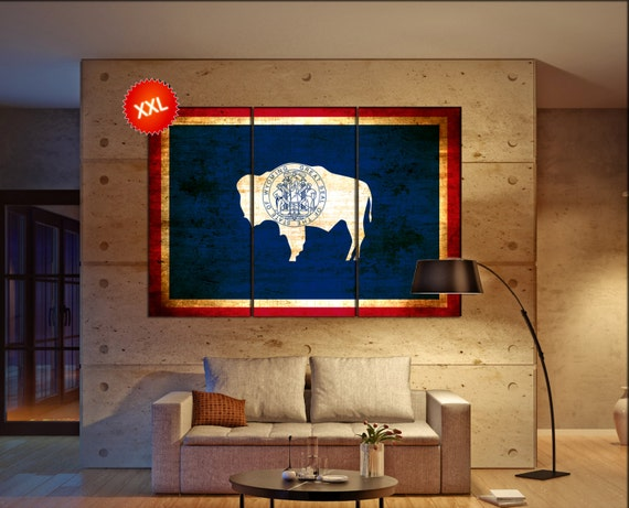 wyoming state flag  canvas wyoming state flag wall decoration wyoming state flag canvas art wyoming state flag large canvas