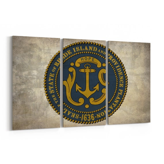 Rhode Island State Seal Wall Art Canvas Rhode Island State Seal Canvas Print Multiple Sizes Wrapped Canvas on Wooden Frame