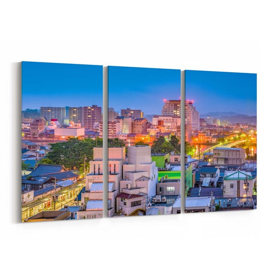 Matsue Skyline Wall Art Matsue Canvas Print Shimane Japan Multiple Sizes Wrapped Canvas on Wooden Frame