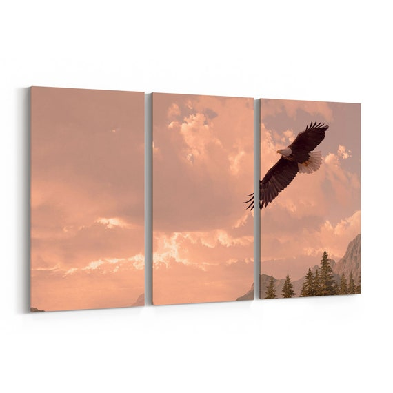 Bald Eagle Wall Art Canvas Bald Eagle Canvas Print Multiple Sizes Wrapped Canvas on Wooden Frame