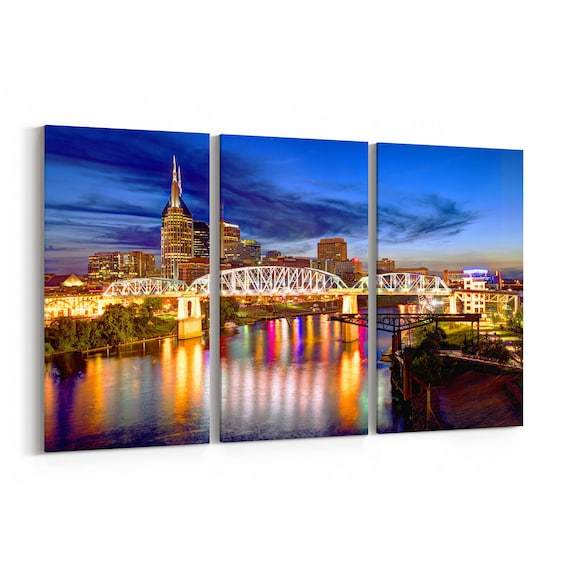 Nashville Skyline Wall Art Nashville Canvas Tennessee Multiple Sizes Wrapped Canvas on Wooden Frame