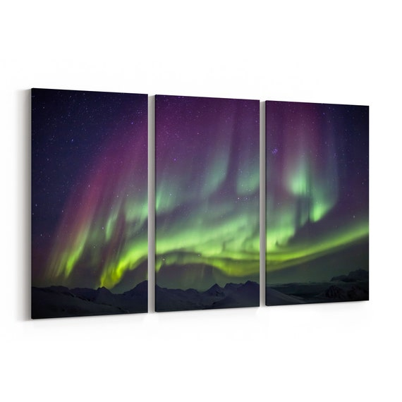 Northern Lights Canvas Northern Lights Canvas Print Multiple Sizes Wrapped Canvas on Wooden Frame