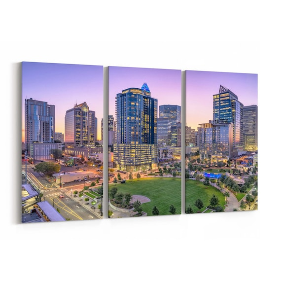 Charlotte Skyline Wall Art Canvas Charlotte Canvas Print North Carolina Multiple Sizes Wrapped Canvas on Wooden Frame