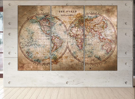 vintage world map canvas  print vintage map canvas Old World Map Historic Map Antique Style World Map art work artwork office decor