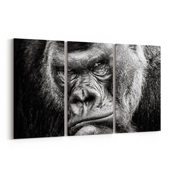 Gorilla Canvas Print Gorilla Wall Art Canvas Multiple Sizes Wrapped Canvas on Wooden Frame