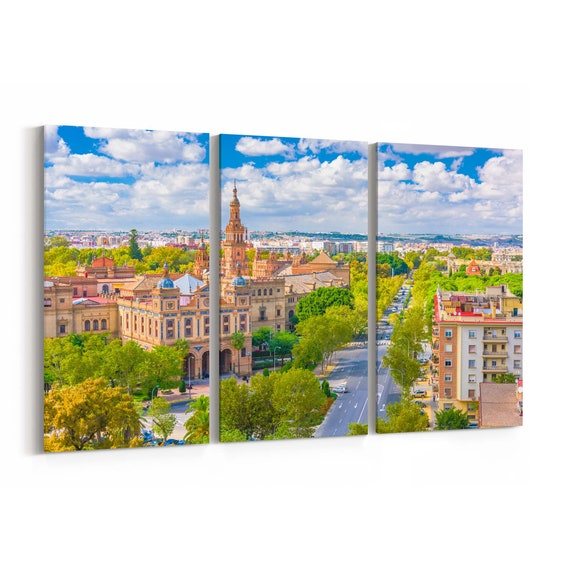 Seville Skyline Wall Art Seville Canvas Print Spain Multiple Sizes Wrapped Canvas on Wooden Frame