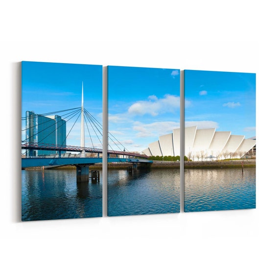 Glasgow Skyline Wall Art Glasgow Canvas Print Multiple Sizes Wrapped Canvas on Wooden Frame