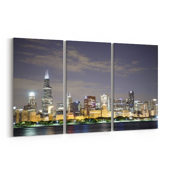 Chicago Canvas Wall Art Chicago Canvas Print Illinois Multiple Sizes Wrapped Canvas on Wooden Frame