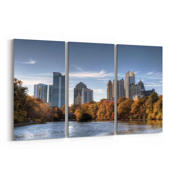Atlanta Skyline Canvas Atlanta Canvas Print Multiple Sizes Wrapped Canvas on Wooden Frame