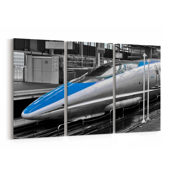 Bullet Train Canvas Print Bullet Train Wall Art Canvas Multiple Sizes Wrapped Canvas on Wooden Frame